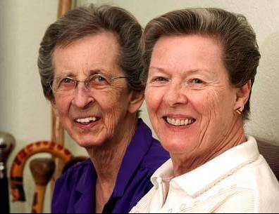 This undated image provided by Lambda Legal shows plaintiffs Beverly Sevcik, 73, right, and Mary Baranovich, 76. A national gay rights advocacy group filed a federal lawsuit Tuesday April against Nevada's governor in a bid to win marriage rights for these same-sex couples in the state.