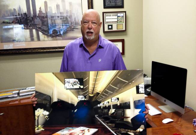 Michael Barron, president and CEO of Las Vegas Railway Express, developer of the X Train party train that will operate between Los Angeles and Las Vegas next year, discusses the cars being built for his company at his office June 26, 2013.