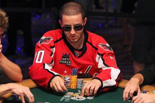 Greg Merson takes part in the $111,111 One Drop High Rollers No-Limit Hold'em event during the World Series of Poker Wednesday, June 26, 2013 at the Rio.