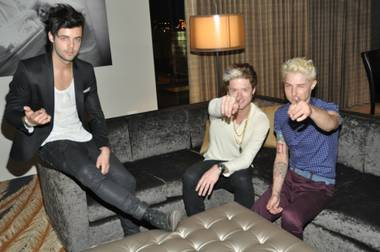 Members of Hot Chelle Rae — Ian Keaggy, Nash Overstreet and Ryan Follese — in the penthouse of Golden Gate in Downtown Las Vegas on Thursday, June 27, 2013.