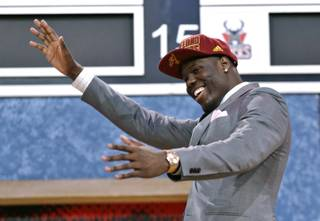 UNLV's Anthony Bennett celebrates after being selected first overall by the Cleveland Cavaliers in the first round of the NBA basketball draft, Thursday, June 27, 2013, in New York.