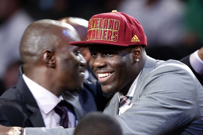 UNLV's Anthony Bennett smiles after being selected first overall by the Cleveland Cavaliers in the NBA basketball draft, Thursday, June 27, 2013, in New York.