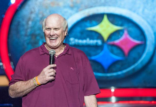 "Rehearsal for ""Terry Bradshaw: America's Favorite Dumb Blonde -- A Life in Four Quarters"" on Wednesday, June 26, 2013, in Las Vegas. The NFL legend is performing his show Friday and Saturday at The Mirage."