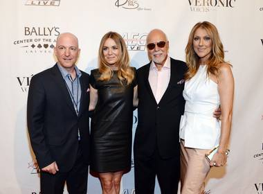 "Remon Boulerice, Veronic Dicaire, Rene Angelil and Celine Dion arrive at the ""Veronic Voices"" premiere at Bally's Las Vegas on Friday, June 28, 2013."