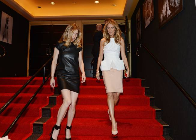 "Veronic Dicaire and Celine Dion arrive at the ""Veronic Voices"" premiere at Bally's Las Vegas on Friday, June 28, 2013."