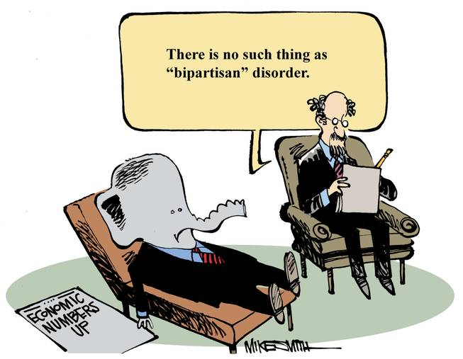 "The winner of the June Smithereens Cartoon Caption Contest was donconner's ""There is no such thing as 'bipartisan' disorder."""