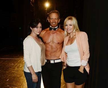 Shannen Doherty, Ian Ziering and Jennie Garth at Chippendales in The Rio on Sunday, June 30, 2013.