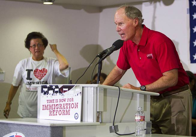 Reid and Gutierrez Lead Immigration Rally At Culinary Union