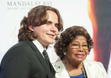 "Prince Jackson and his grandmother, Katherine Jackson, arrive at the red carpet for Cirque du Soleil's ""Michael Jackson One"" at Mandalay Bay on Saturday, June 29, 2013."