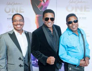 Marlon, Jackie and Tito Jackson arrive at the red carpet for Cirque du Soleil's