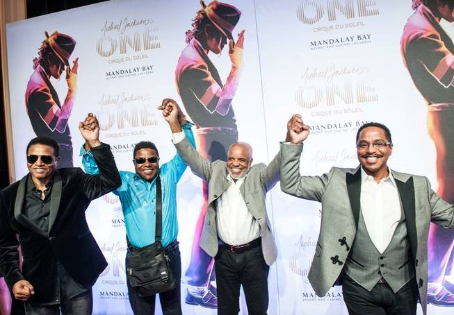 "Jackie Jackson, Tito Jackson, Berry Gordy Jr. and Marlon Jackson arrive at the red carpet for Cirque du Soleil's ""Michael Jackson One"" at Mandalay Bay on Saturday, June 29, 2013."