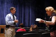 Barbara Teixeira, right, asks a question to U.S. Rep. Joe Heck, R-Nev. during a Town Hall at Windmill Library in Las Vegas on Tuesday, July 2, 2013.