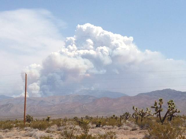 Smoke billows from Mount Charleston as a lighting-sparked wildfire burns for a fifth consecutive day July 5, 2013.