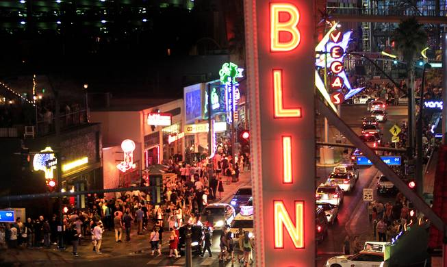 A packed Fremont East District on Friday, July 5, 2013.
