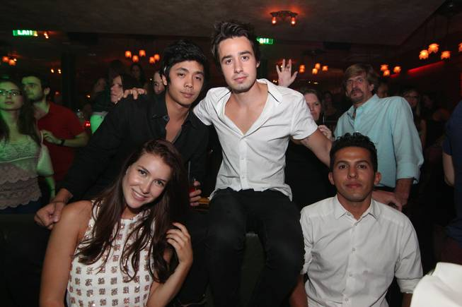 Nathalia Ramos, Derek An, Dathan Kuppin and a guest celebrate Ramos' 21st birthday at The Act in the Palazzo.