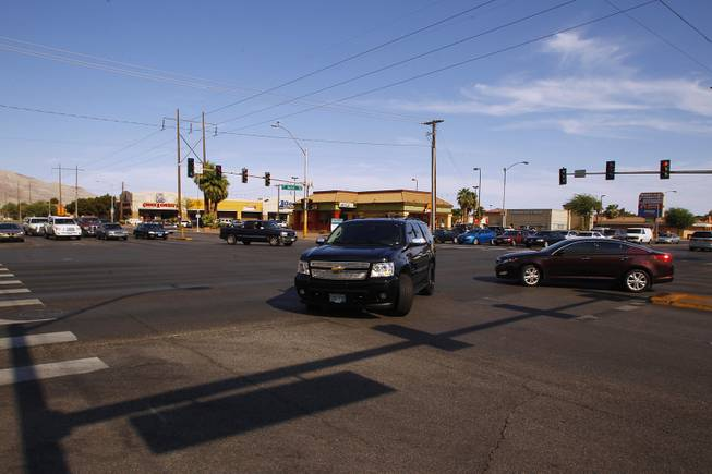 This is the intersection of Stewart Avenue and Nellis Boulevard July 9, 2013.