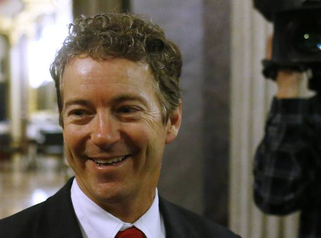 Sen. Rand Paul, R-Ky. talks to reporters on Capitol Hill in Washington, March 7, 2013.