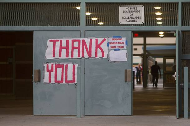 A sign thanks firefighters at Centennial High School and fight the Mount Charleston wildfire Thursday, July 11, 2013.