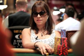 Annette Obrestad plays during the World Series of Poker Main Event on Thursday, July 11, 2013.
