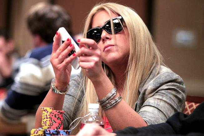 Lauren Kling plays during the World Series of Poker Main Event on Thursday, July 11, 2013.