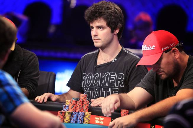 Max Steinberg plays during the World Series of Poker Main Event on Thursday, July 11, 2013.