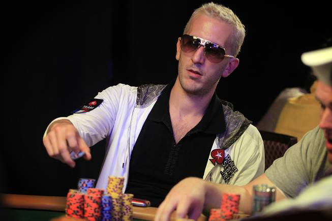 "Bertrand ""Elky"" Grospellier plays during the World Series of Poker Main Event on Thursday, July 11, 2013."