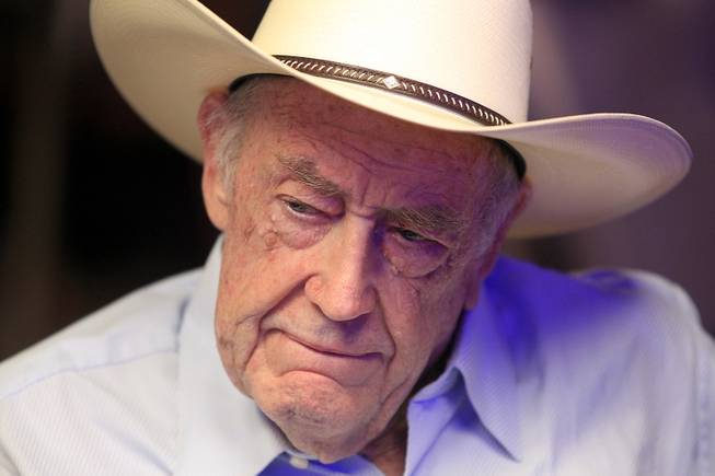 Doyle Brunson plays during the World Series of Poker Main Event on Thursday, July 11, 2013.