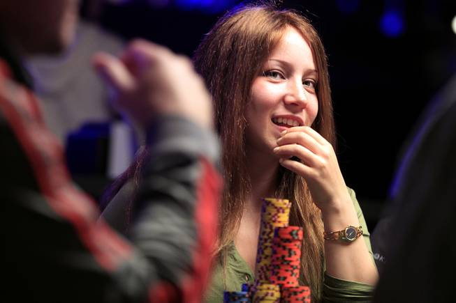 Melanie Weisner plays during the World Series of Poker Main Event on Thursday, July 11, 2013.
