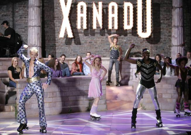 "The cast of ""Xanadu"" performs the closing number on roller skates during a dress rehearsal of the musical in New York in this May 22, 2007 file photo."