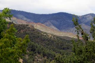 The fire-scarred hills on the Pahrump side of Mount Charleston, damaged by a fire in 2002 and the recent Carpenter 1 Fire, are seen from Torino Ranch on Monday, July 15, 2013. Torino Ranch is located in Lovell Canyon in the Spring Mountains National Recreation Area.