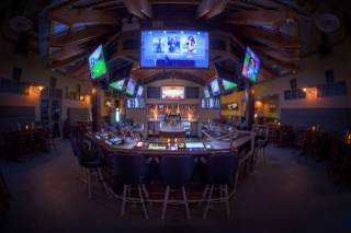 A fish eye lens view of the bar area at Ace and Ales, one of the few venues that sells growlers in Las Vegas.