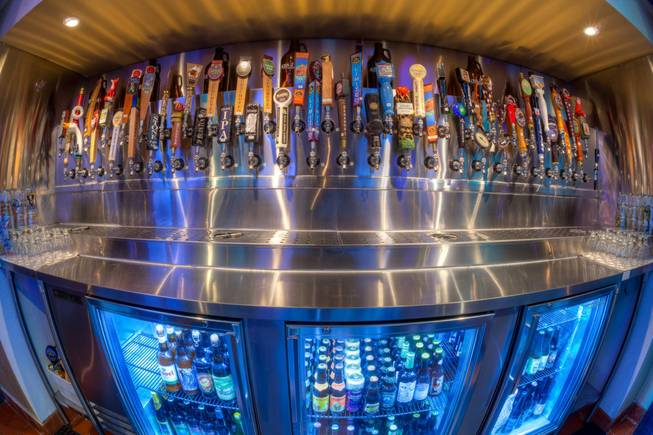 A fish eye lens view of the variety of beers on tap at Ace and Ales, one of a few venues that sells growlers in Las Vegas.