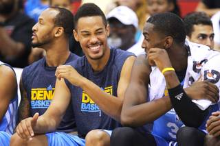Former UNLV swingman Chace Stanback laughs on the bench while playing with Denver against New Orleans Wednesday, July 17, 2013 during the NBA Summer League at Cox Pavilion.