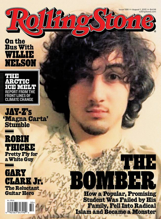 "In this magazine cover image released by Wenner Media, Boston Marathon bombing suspect  Dzhokhar Tsarnaev appears on the cover of the Aug. 1, 2013, issue of ""Rolling Stone."""