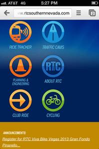 The Regional Transportation Commission's mobile optimized homepage
