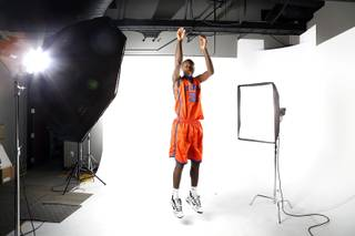 Basketball player and Desert Pines High School junior Nate Grimes photographed in the GMG Studio on Monday, July 22, 2013.