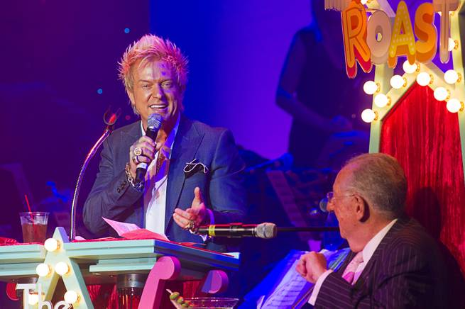 "Chris Phillips of Zowie Bowie speaks during ""The Showbiz Roast"" of former Las Vegas Mayor Oscar Goodman at the Stratosphere Theater Tuesday, July 23, 2013. Fifty percent of the show proceeds benefited Miracle League of Las Vegas."