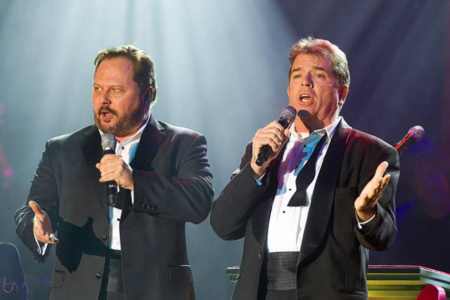 "Randal Keith, left, and Bruce Ewing of the Phat Pack perform during ""The Showbiz Roast"" of former Las Vegas Mayor Oscar Goodman at the Stratosphere Theater Tuesday, July 23, 2013. Fifty percent of the show proceeds benefited Miracle League of Las Vegas."
