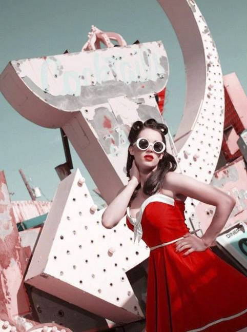 Burlesque performer Darla Lush, seen here modeling at the Neon Museum, plans to incorporate projection mapping technology into her striptease act.