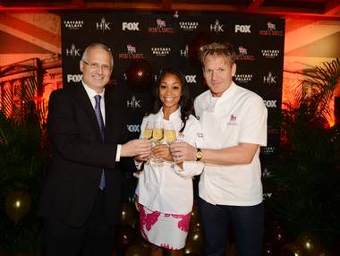 "Caesars Palace President Gary Selesner, ""Hell's Kitchen"" Season 11 winner Ja'Nel Witt and celebrity chef Gordon Ramsay attend the ""Hell's Kitchen"" Season 11 finale and viewing party at Gordon Ramsay Pub & Grill in Caesars Palace on Thursday, July 25, 2013."