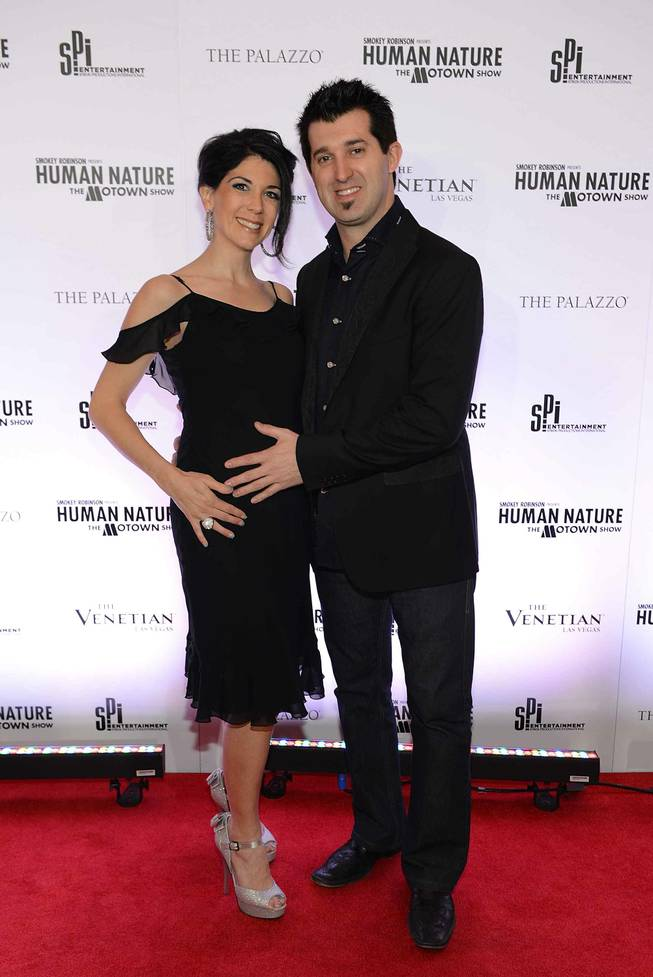 "Marc Savard and wife Joanna arrives at the grand opening of ""Smokey Robinson Presents Human Nature: The Motown Show"" at The Venetian on Friday, Feb. 22, 2013."