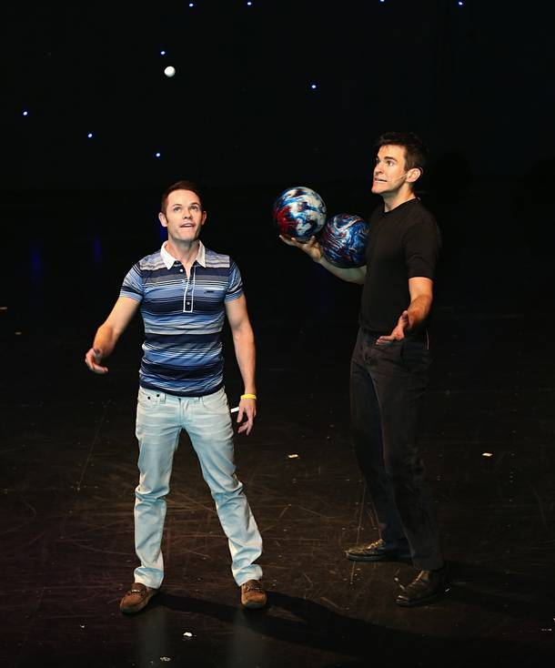 Mike Tierney of Human Nature joins Jeff Civillico onstage at The Quad during Civillico's first anniversary show.