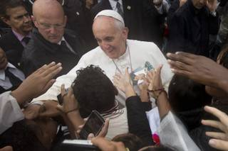 Pope Francis meets residents of the Varginha slum in Rio de Janeiro, Brazil, Thursday, July 25, 2013.