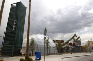 The Mantis is seen after being installed at the Container Park downtown Friday, July 26, 2013.