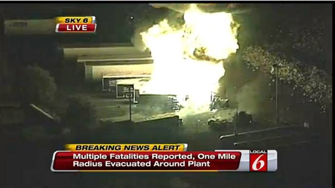 This frame grab provided by WKMG-TV shows the fire at the Blue Rhino plant in Tavares City, Fla., Tuesday, July 30, 2013. A series of major explosions at a Florida gas plant has injured several workers and left others missing.