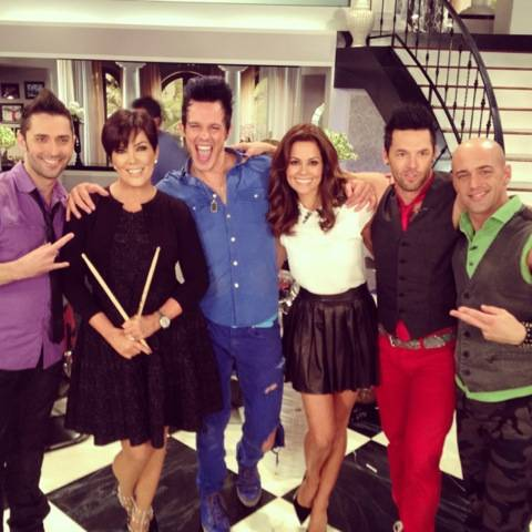 "The Quad headliners Recycled Percussion on ""Kris"" on Fox on Monday, July 29, 2013. Host Kris Jenner is second from left, and guest Brooke Burke-Charvet is third from right."