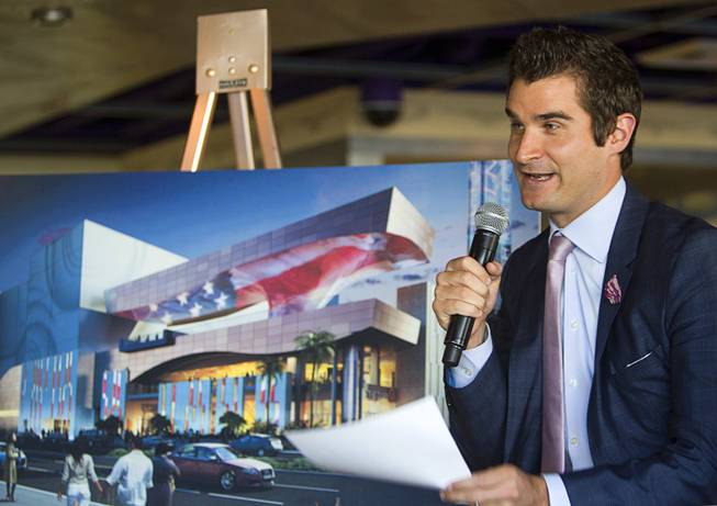 Jon Gray, vice president and general manager of Caesars Entertainment's Linq development, speaks before a construction tour of the project Tuesday, July 29, 2013. The $550 million shopping, dining and entertainment district will be anchored by the 550-foot-tall High Roller observation wheel. The project's first phase is expected to open in late 2013.