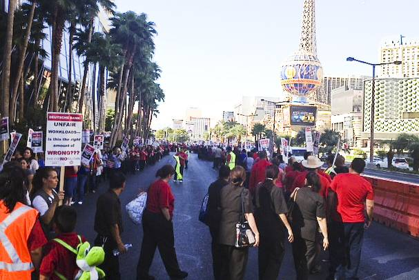 Culinary Union members protest outside the Cosmopolitan Casino, July 31, 2013.