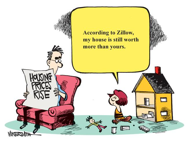 "The winning caption for this month's Smithereens Cartoon Caption Contest received 50 percent of the votes and came from website user missionway: ""According to Zillow, my house is still worth more than yours."""