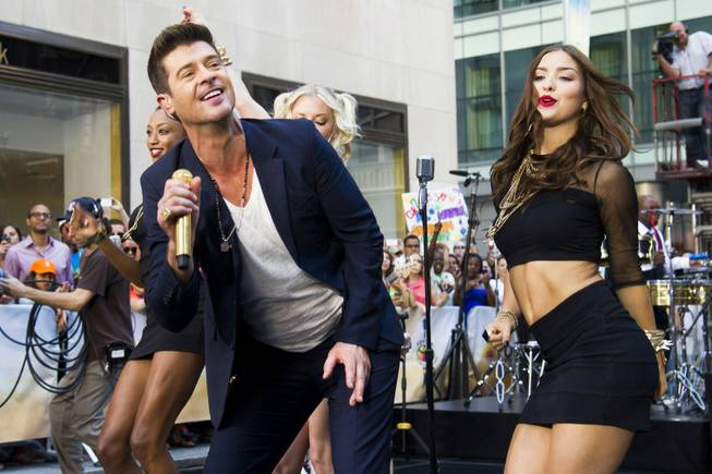 "Robin Thicke performs on NBC's ""Today"" show on Tuesday, July 30, 2013 in New York."